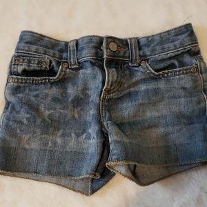 Flag jean shorts